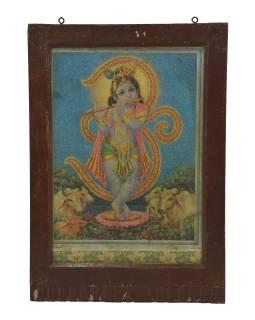 Starý obraz hinduistického božstva v teakovom ráme pod sklom, Krišna, 43x3x63cm