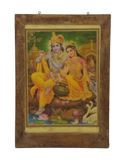 Starý obraz hinduistického božstva v teakovom ráme, Krišna a Radha ,, 42x2x60cm