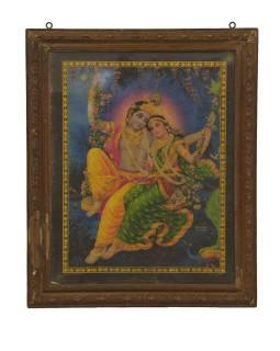 Starý obraz hinduistického božstva v teakovom ráme, Krišna a Radha, 48x2x59cm