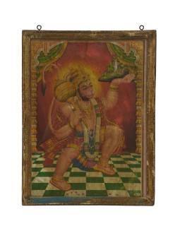 Starý obraz hinduistického božstva v teakovom ráme pod sklom, Hanuman, 29x2x38cm