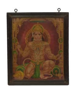 Starý obraz hinduistického božstva v teakovom ráme pod sklom, Hanuman, 29x2x34cm
