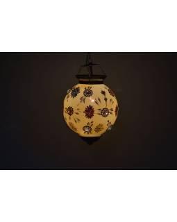 Guľatá sklenená lampa zdobená farebnými kameňmi, žltá, ručné práce, 25x35cm