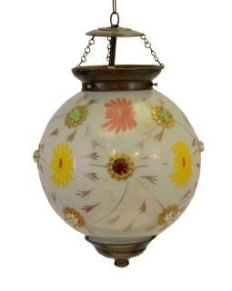 Guľatá sklenená lampa zdobená farebnými kameňmi, biela, ručné práce, 25x35cm