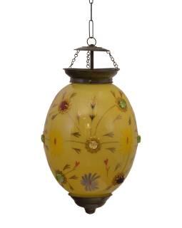 Oválna sklenená lampa zdobená farebnými kameňmi, žltá, 25x25x35cm