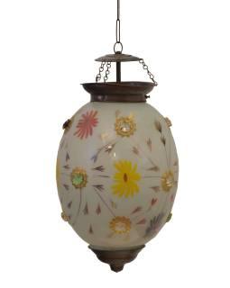 Oválna sklenená lampa zdobená farebnými kameňmi, biela, 25x25x35cm