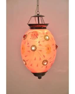 Oválna sklenená lampa zdobená farebnými kameňmi, ružová, 25x25x35cm