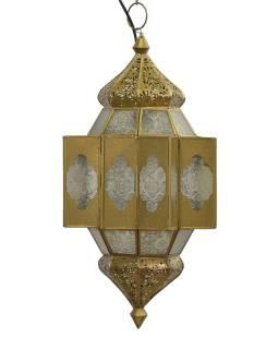 Lampa v orientálnom štýle, biele sklo, zlatý kov, 25x25x54cm
