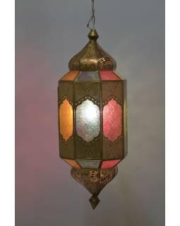Lampa v orientálnom štýle, farebné sklo, zlatý kov, 20x20x55cm