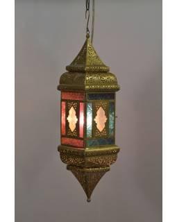 Arabská lampa, multifarebná, mosadz, sklo, ručné práce, 13x13x50cm