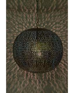Kovová lampa v arabskom štýle, zlato čierna, vnútri tyrkysová, 42x42x42cm