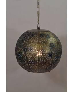 Kovová lampa v arabskom štýle, zlato čierna, vnútri tyrkysová, 37x37x37cm