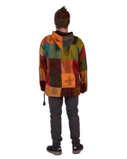 Anorak - Mikina s kapucňou, gombíky, Patchwork, vrecko, farebná