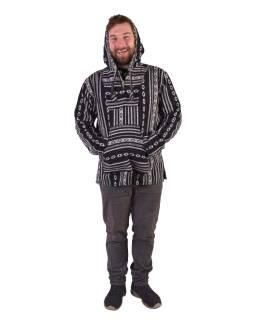 Anorak - Mikina s kapucňou, gombíky, bez podšívky, vrecko, čierno-biela