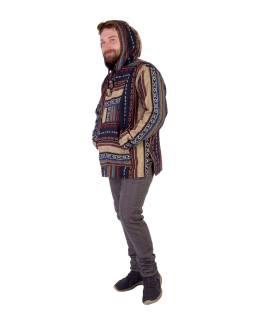Anorak - Mikina s kapucňou, gombíky bez podšívky, vrecko, tmavo modrá - farebná