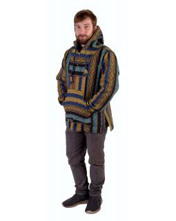 Anorak - Mikina s kapucňou, gombíky bez podšívky, vrecko, modro-žltá