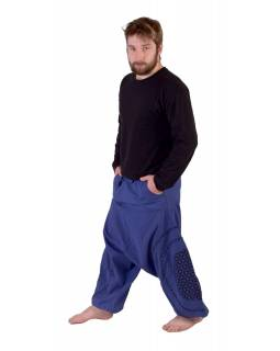 Dlhé turecké nohavice, modro-čierne, potlač, vrecká, pružný pás