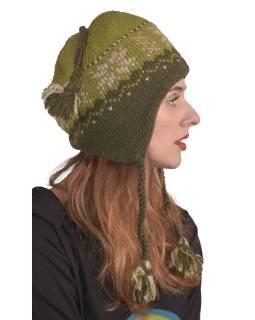 Čiapky, uši, vlna, vzor vločka, podšívka, zelená
