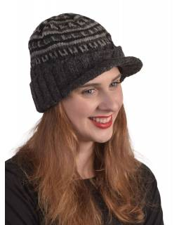 Čiapky, šilt, visor cap, vlna, podšívka, čierna, sivá
