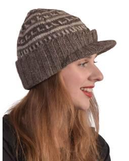 Čiapky, šilt, visor cap, vlna, podšívka, prírodná hnedá