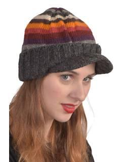 Čiapky, Visor cap, šilt, vlna, podšívka, pruhy šedej, oranž., Červené