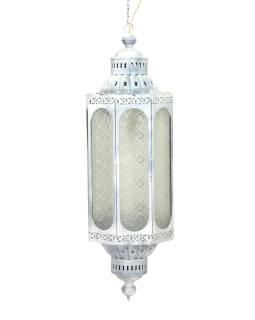 Kovová lampa v orientálnom štýle, sklenená výplň, 27x27x85cm