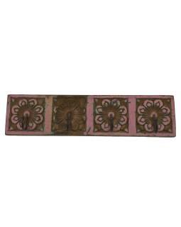 4 vešiačiky na stenu, ručne vyrezávané, 41x2x10cm