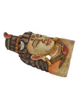 Drevená maska, Šiva, farbený, 24x13x38cm