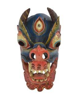 Drevená maska, Drak, farbený, 19x21x36cm