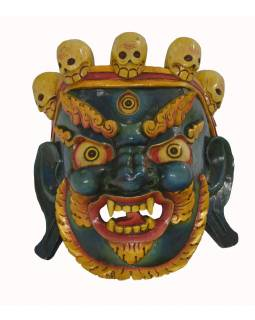 "Drevená maska, ""Bhairab"", ručne vyrezávaná, 34x35x40cm"