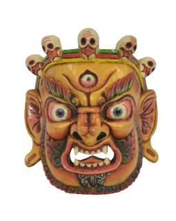 "Drevená maska, ""Bhairab"", ručne vyrezávaná, 29x13x31cm"