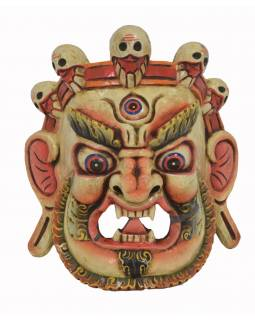 "Drevená maska, ""Bhairab"", ručne vyrezávaná, 27x13x31cm"