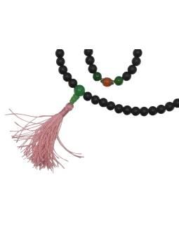 Mala Čierny Onyx matný, 108 korálok, priemer 8mm, dĺžka 45cm + strapec 2cm