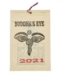 Kalendár na rok 2021 ručne tlačil na ryžovom papieri, 10x15cm