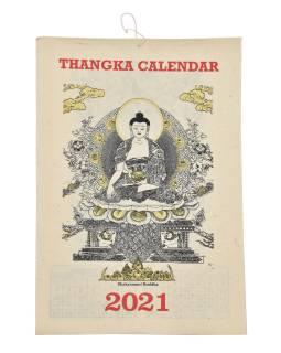Kalendár na rok 2021 ručne tlačil na ryžový papier, 23x30cm