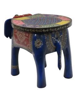 Stolička v tvare slona ručne maľovaná, 51x34x39cm