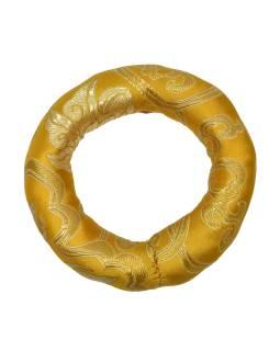 Podložka pod tibetskú misu zo zlato-žltého brokátu, priem. 11cm
