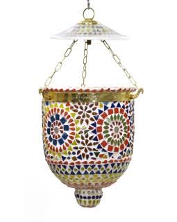 Sklenené mozaikové tienidlo, ručné práce, 16x16x40cm