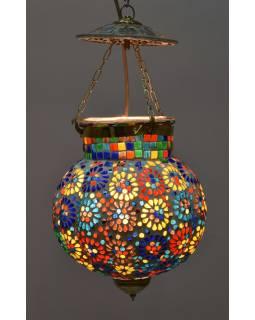 Sklenené mozaikové tienidlo, ručné práce, 25x25x44cm