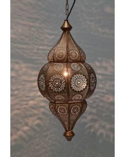 Kovová lampa v orientálnom štýle, medená farba, vnútri tyrkysová, 22x52cm