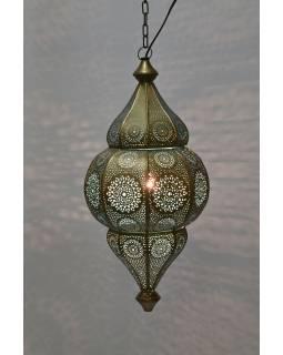 Kovová lampa v orientálnom štýle, zlatá farba, vnútri tyrkysová, 22x52cm