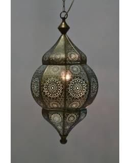 Kovová lampa v orientálnom štýle, medená farba, vnútri tyrkysová, 34x52cm