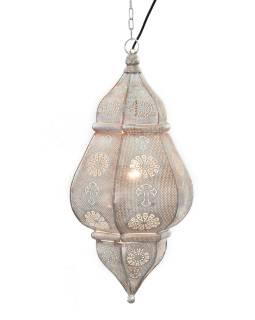 Kovová lampa v orientálnom štýle, biela farba, vnútri biela, 34x52cm