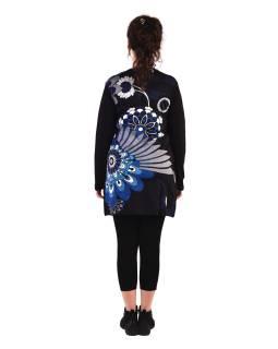 Tunika s dlhým rukávom, čierna s modrou potlačou kvetín