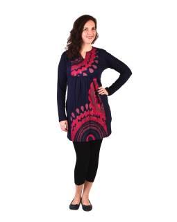 Tunika s dlhým rukávom, tmavo modrá s ružovým potlačou