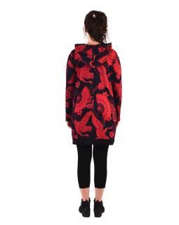 Tunika s dlhým rukávom, kapucňou a vreckami, čierna s červenou potlačou