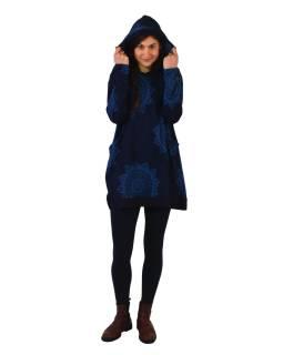 Tunika s dlhým rukávom, kapucňou a vreckami, tmavo modrá s mandalami