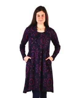 Šaty s dlhým rukávom, sklady na prsiach, tmavo šedé s modro-ružovou potlačou