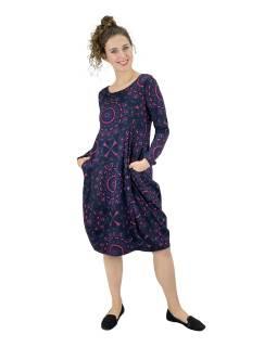 Šaty s dlhým rukávom, vrecká na bokoch, tmavo šedé s modro-ružovou potlačou