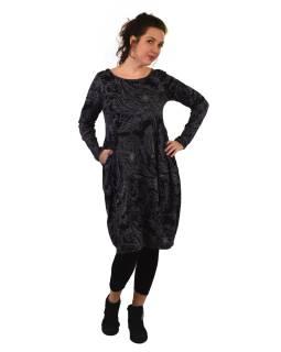 Šaty s dlhým rukávom, vrecká na bokoch, čierne s šedým potlačou