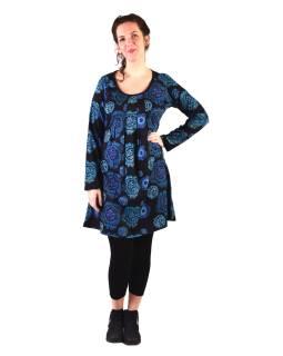Šaty s dlhým rukávom, sklady na prsiach, čierne s modrou potlačou